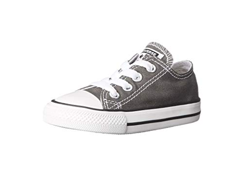 Converse Kids' Chuck Taylor All Star Canvas Low Top Sneaker, Charcoal, 7 M US Toddler