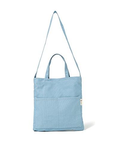 Cotton Tote Bag - Canvas Tote Handbag Shoulder Bag Crossbody Bags Purses For Men And Women (Blue Pocket)