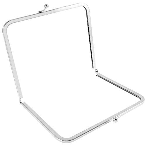 Tono plateado 17,5 cm Metal Kiss de seguridad para anclaje en forma de Rectangular de cerradura a barra de marco para Monedero bolso de mano Silver Tone