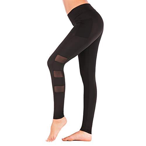 (Pervobs Fashion Women High Waist Yoga Pants Elastic Waist Stretchy Skinny Side Pockets Sports Leggings Trouser(M, Black))