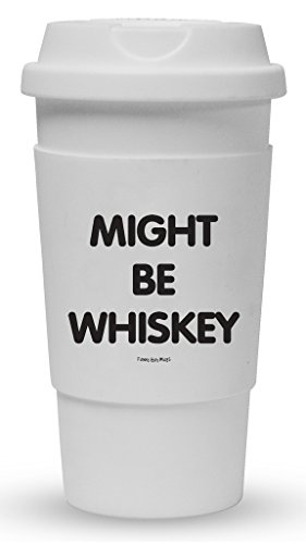 Funny Guy Mugs Might Be Whiskey Travel Tumbler With Removable Insulated Silicone Sleeve, White, 16-Ounce