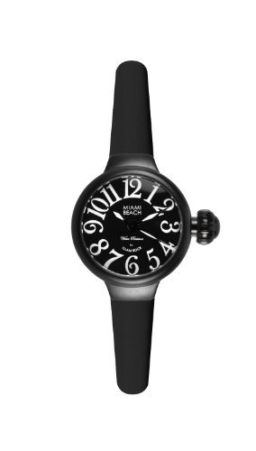 Glam Rock Art Deco Collection Women's Quartz Watch with Black Dial Analogue Display and Black Silicone Strap 0.96.2942