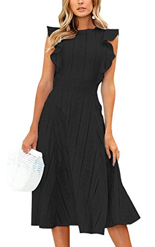 ECOWISH Womens Dresses Elegant Ruffles Cap Sleeves Summer A-Line Midi Dress Black Large