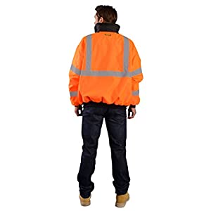 OccuNomix LUX-ETJBJ-OXL High Visibility Fleece Lined Bomber Jacket with Roll-Away Hood and 4 Pockets, Waterproof & Sealed Seams, Class 3, 100% ANSI Polyester, X-Large, Orange