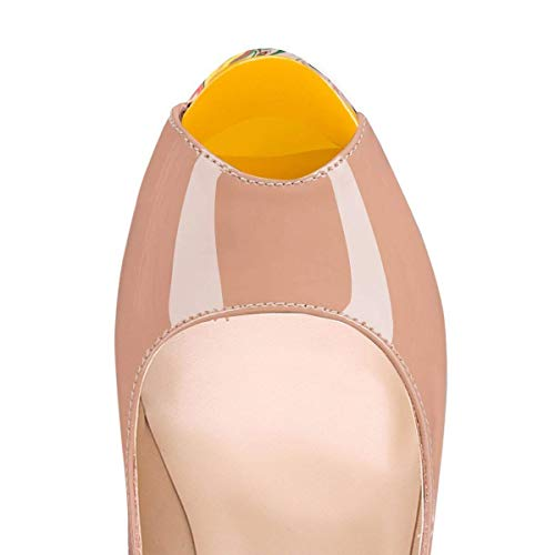 Caitlin Pan Stiletto High Dress Pumps Red 14 Slip toe On Toe Platform Womens yellow Peep 5 Sandals Pumps b0tt0m Heels Nude rrqwFx