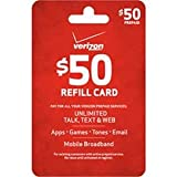 $50 Verizon Wireless Prepaid Refill Top Up Card