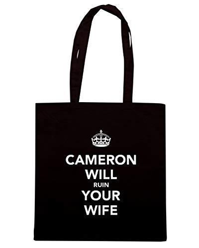 Shirt YOUR WIFE RUIN Speed Borsa Shopper TKC3569 WILL Nera CAMERON v8zqzdw