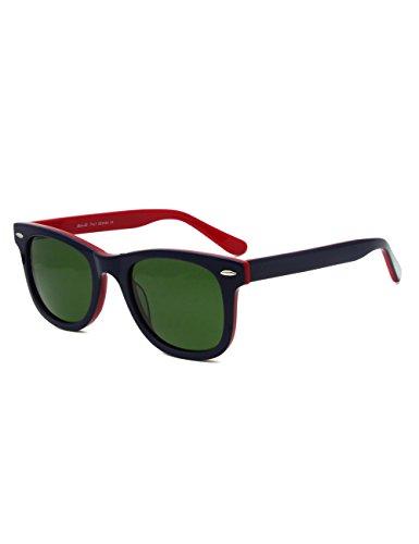 Wayfarer Acetate Glass lens Eyewear Great Vision Sunglasses (DarkNavyBlueCombineRed, GLASS LENS)