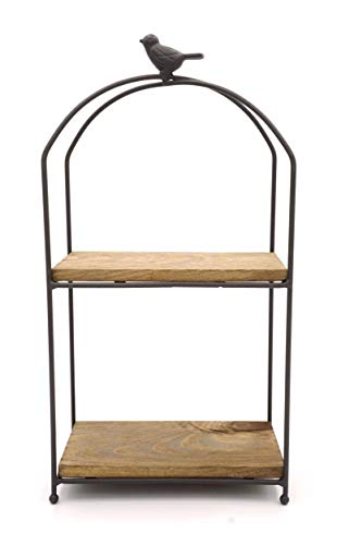 KeKaBox 2 Tier Farmhouse Style Country Rustic Wood and Metal Desktop Shelves (Rectangle Small)