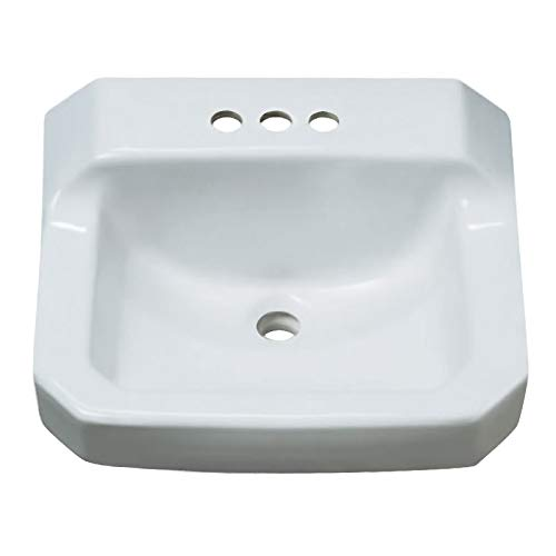 PROFLO PF5414WH 19-5 8 Wall Mounted Rectangular Bathroom Sink – 3 Holes Drilled