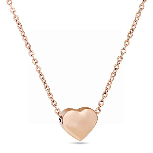 JIN European and American Fashion Clean The tri-Color Heart-Shaped Necklace Love Women's Pendant red Peach Heart Short of The Clavicle Chain Soft Sister C Necklace Pendant Necklace for Womens ()