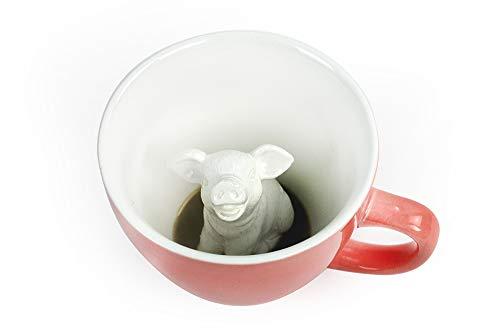 CREATURE CUPS Pig Ceramic Cup (11 Ounce, Peach) | Hidden Animal Inside | Coffee Mugs & Tea Cups | Piggy Farm Animal (Pig Coffee Mugs)