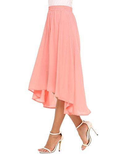 Zeagoo Elastic Waist Summer Chiffon Skirt Flowy High Low Skirt For Women, Pink, Large