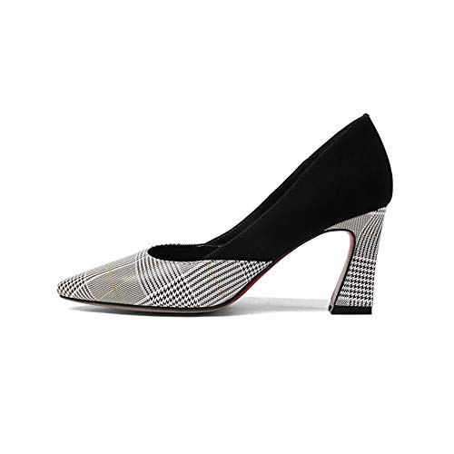 HOESCZS Neue Frauen Aus Aus Aus Echtem Leder Platz High Heels Slip-on Gingham Schuhe Frau Mode Frühjahr Pumpt Große Größe 33-43 029168