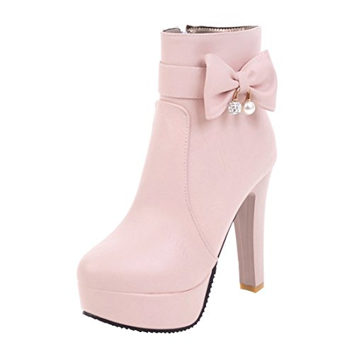 Agodor Women's High Heel Platform Ankle Boots With Zip Cute Bowtie Autumn Winter Shoes Pink l1O0zEXrga