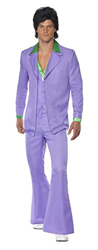 Smiffys Men's Lavender 1970's Suit Costume, Jacket With Mock Shirt and Waistcoat and pants, 70 Disco, Serious Fun, Size L, 39426 -