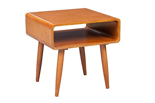 We love that that this walnut veneered end table has open concept storage, so you can artfully displ