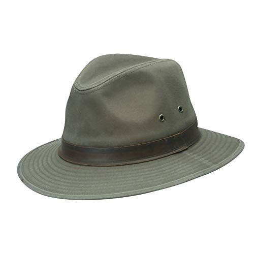 Scala Leather Safari Hat - Dorfman Pacific Men's One-Piece Canvas Faux Leather-Trim Safari Hat,Olive,X-Large