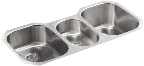 KOHLER K-3166-L-NA Undertone Triple-Basin Undercounter Kitchen Sink, Stainless Steel