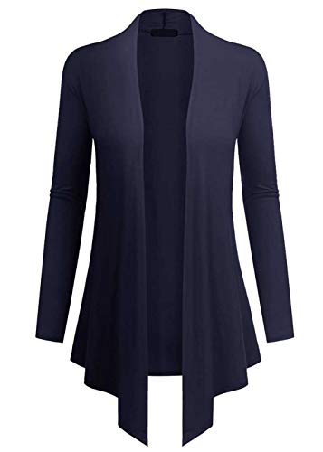 lymanchi Women's Open Front Drape Hem Long Sleeve Lightweight Jersey Cardigans 94 Dark Blue 2X