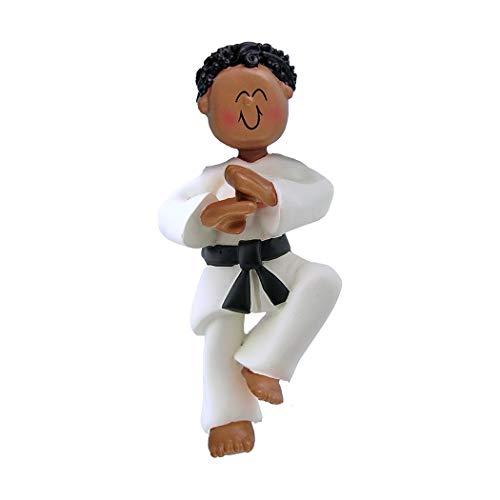 Personalized Karate Boy Christmas Tree Ornament 2019 - African-American Man Athlete Belt in Pose School Taekwondo Judo Teacher Hobby Children Grand-Son - Free Customization (Black Hair Male)