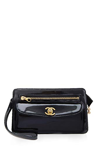 CHANEL Black Patent Leather Clutch (Pre-Owned)