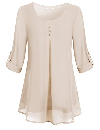 Cestyle Tunic Shirt For Women, Ladies Swing Loose Fitting Casual Pleat Front Misses Top Soft Comfortable Chiffon Sleeky Blouses For Juniors Oversized Roll Tab Sleeve Long Tees Uneven Hem Beige XXL Ladies Western Shirt