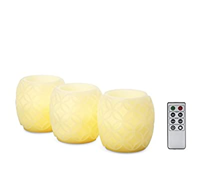 Set of 3 Ivory Carved Wax Pillar Candles, Remote Included, Batteries Included