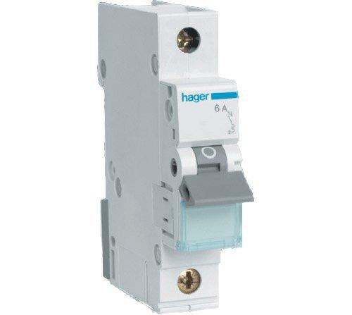 MT106 Hager Miniature Circuit Breaker 6kA Type B SP Single Pole MCB - 6A Rating