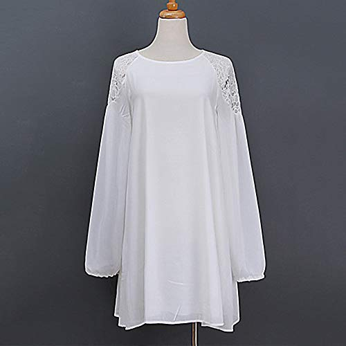 JIZHI Mujer Chic De Calle Gasa Vestido - Encaje, Un Color Sobre La Rodilla,White,L