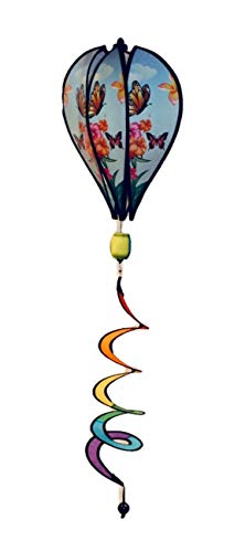 "JS Wind Spinner Hot Air Balloon Butterfly Stripe Deluxe Sun Premium Lawn Garden Twirl Colorful 17"" ()"