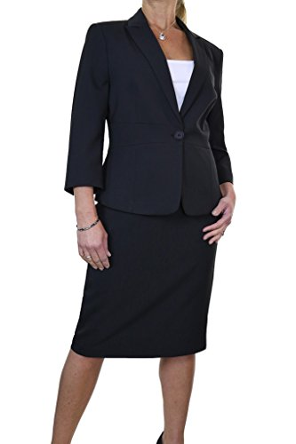 Ice 6472-1 Business Office Fully Lined Pencil Skirt Suit Black (Fully Lined Suit)