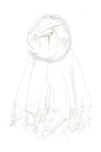 Achillea Large Soft Silky Pashmina Shawl Wrap Scarf in Solid Colors (White)