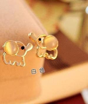 Pendientes de aleación de moda Encanto encantador Lindo bebé elefante Mujeres Ópalo Declaración para animales de fiesta Pendientes de botón
