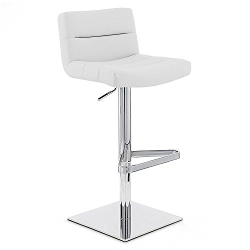 Zuri Furniture White Lattice Square Base Adjustable Height Swivel Armless Bar Stool