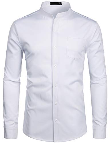 ZEROYAA Men's Banded Collar Slim Fit Long Sleeve Casual Button Down Dress Shirts with Pocket ZLCL09 White Small ()