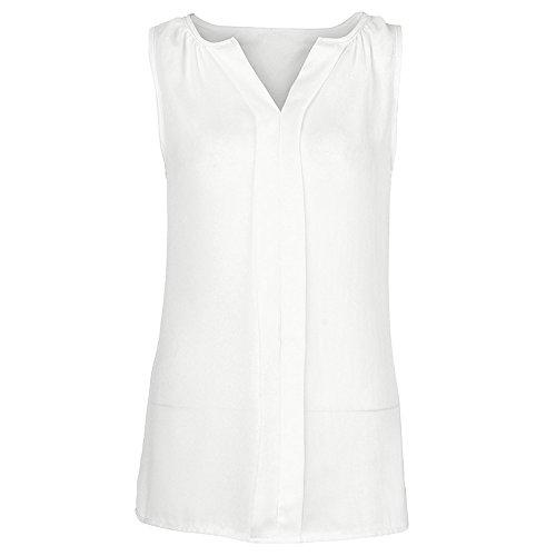 (Women's Plus Size Tank Tops,Cinsanong Sales! Ladies Chiffon Sleeveless Vest V Neck Solid Color Plus Size Loose Camisole White)