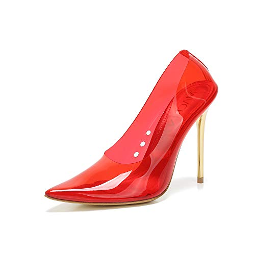 Mackin J 188-7 Transparent Pointed Toe Slip On Stiletto High Heel Pump (9, Red) ()