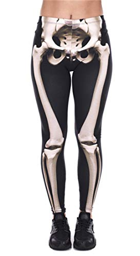 Abyelike Women's Girls Fashion Digital Printed Leggings Full-Length Skeleton Bone Skull Tight Stretch Leggings -
