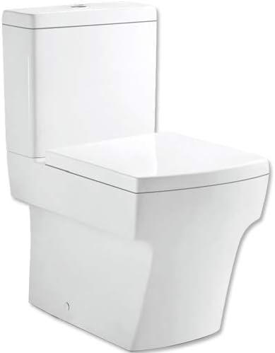 Platos de ducha y mamparas PDM Inodoro Compacto Cuadrado DISEÑO Exclusivo, Asiento CAÍDA Lenta, DESAGÜE Horizontal O Vertical, Y Sistema Rimless: Amazon.es: Hogar