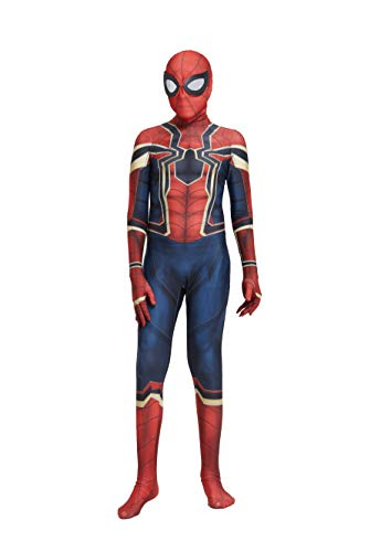 Gakin Unisex Lycra Spandex Superhero Iron Bodysuit 3D Zentai One-Piece Full Set Halloween Cosplay Costume-Style 2 (Kids-M) Deep Blue