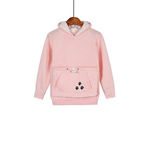 Boys Girls Kangaroo Pouch Hoodies,Pet Cat Dog Holder Carrier Sweatshirt Long Sleeve Pullover (Pink, Size130/(8Y-9Y))