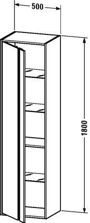 Duravit KT1265L4949 - KT tall cabinet 360x500x1800 Graphite Matt