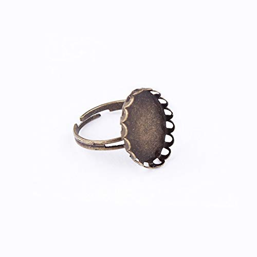 ZAMTAC 10pcs 12mm Flowers Brass Ring Base Antique Bronze Copper Ring Setting Cabochon Cameo Base 2016 (Color: 13x18mm)