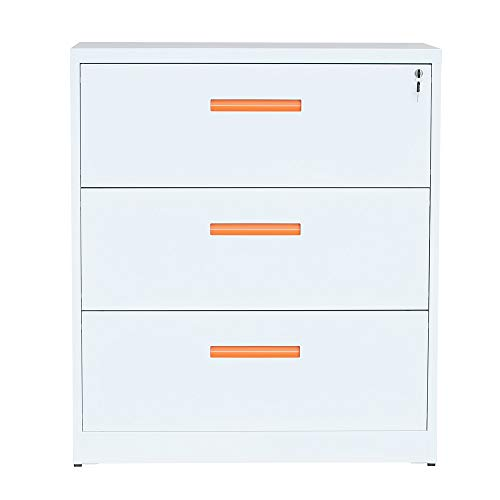 ModernLuxe Lateral File Cabinet with Lock, 3 Drawer Filing Cabinet for Office Home, White, Metal (Metal Filing Lateral Cabinet)