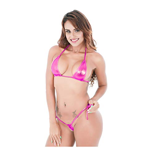 (Mini Sexy Swimwear Underwear Women's Shiny Metallic Tie Side Bottom Triangle Bikini Swimsuits)