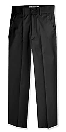 Johnnie Lene Boys Flat Front Slim Fit Dress Pants #JL36 (2T, Black)