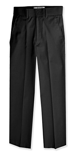 Johnnie Lene Boys Flat Front Slim Fit Dress Pants #JL36 (18, Black) Bi Stretch Welt Pocket Pants