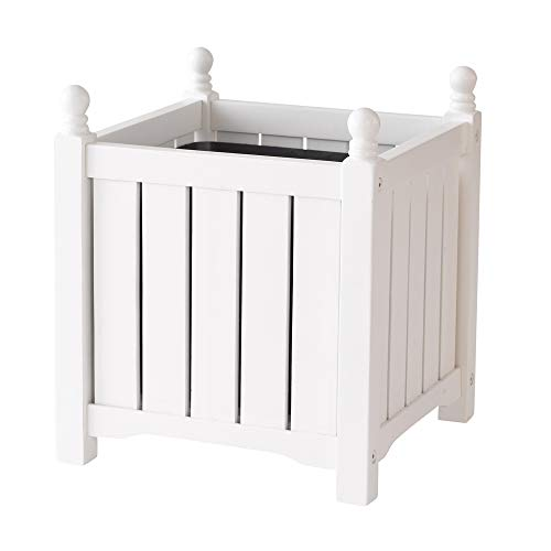 DMC Products 70302 14-Inch Lexington Square Solid Wood Planter, White from DMC Products