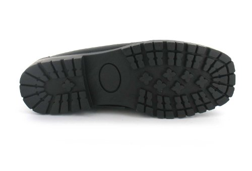 SIN Con 8 CIERRES 3 GB Mujer adornos Metal DAMAS DE Tallas Zapatos Negro Informal PIEL fO0tI